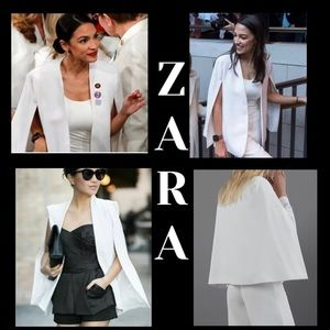 Zara white cape blazer with pockets XS
